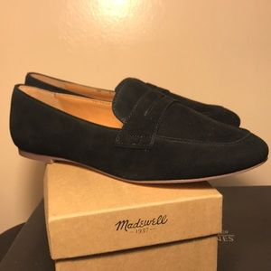 J. Crew black flat work penny loafer sz 7 suede
